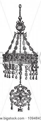 Votive Crown Suintila, king of the Visigoths, vintage engraved illustration. Industrial encyclopedia E.-O. Lami - 1875.