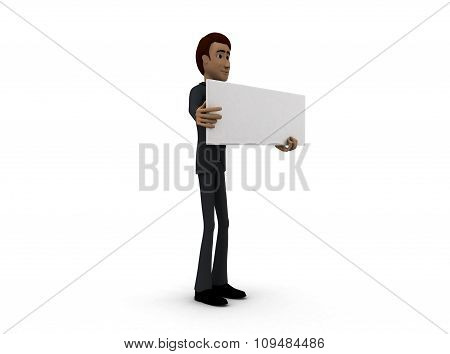 3D Man Holding Board Concept