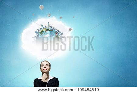 Thoughtful businesswoman and cloud bubble above her head. Elements of this image are furnished by NASA