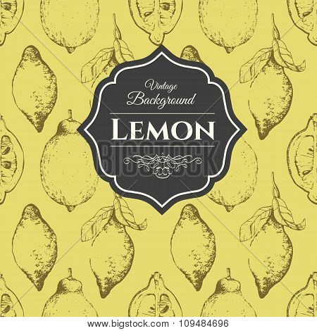 Hand-drawn sketch of lemon. Citrous pattern.