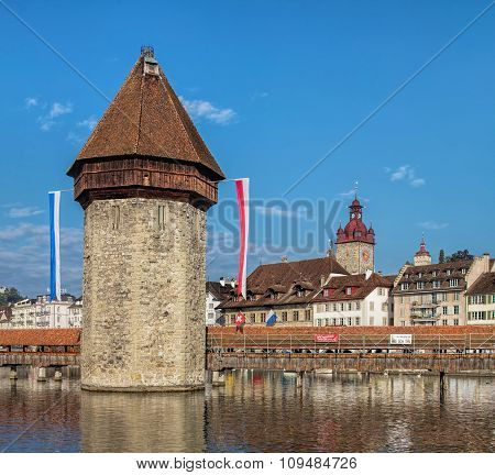 Water Tower In Lucerne, Switzerland