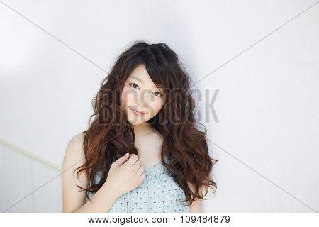 Beautiful black woman. Curly Long Hair.