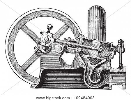 Pressurized water oscillating motor, vintage engraved illustration. Industrial encyclopedia E.-O. Lami - 1875.