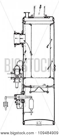 Separator and steam trap, Belleville system. View and cut, vintage engraved illustration. Industrial encyclopedia E.-O. Lami - 1875.