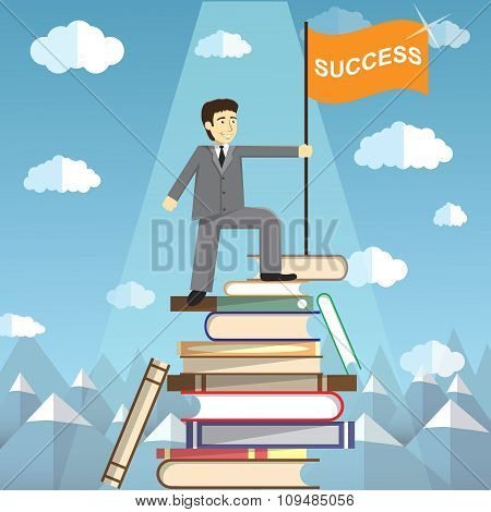 Knowledge Is The Path To Success. The Man On Top Of A Mountain Of Books.