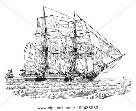 Trading brig as close to the wind, vintage engraved illustration. Industrial encyclopedia E.-O. Lami - 1875.