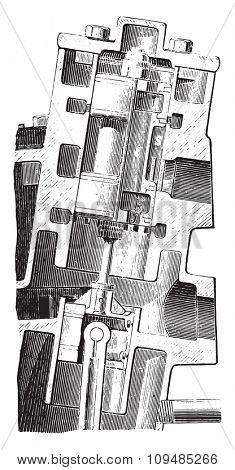 Westinghouse Motor. Drawer Cup, vintage engraved illustration. Industrial encyclopedia E.-O. Lami - 1875.