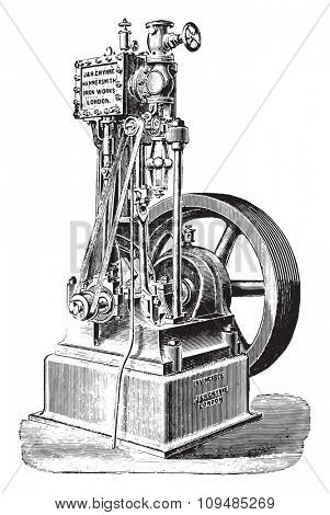 Engine John and Henry Gwynne, vintage engraved illustration. Industrial encyclopedia E.-O. Lami - 1875.