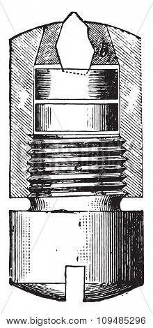 A diamond-tipped tubes, vintage engraved illustration. Industrial encyclopedia E.-O. Lami - 1875.