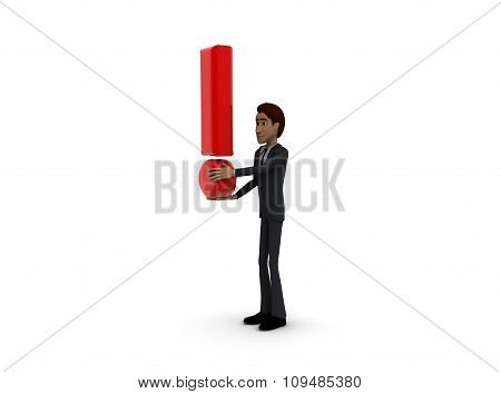 3D Man With Exclamation Mark In Hand Concept
