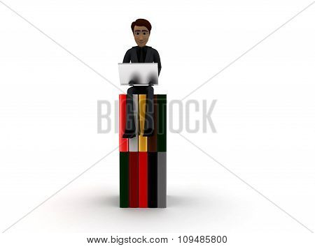 3D Man Sitting On Pile Of Books And Working On Laptop Concept
