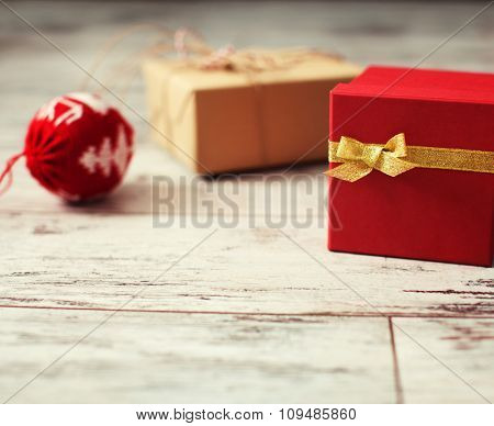 Gift on old wooden floor. Decoration on chrismas