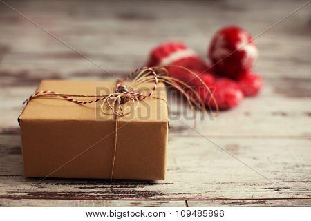Gift on old wooden floor. Decoration on chrismas
