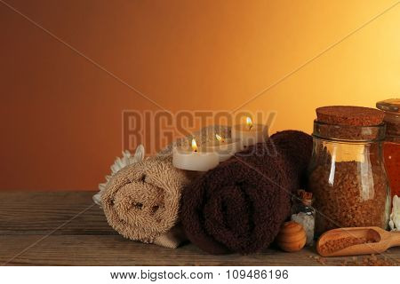 Spa set on wooden table