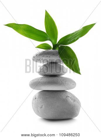 Grey spa stones and green flower, isolated on white