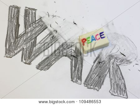 Eraser With Written Peace Deletes The Black Written War