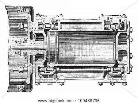 Machine Porter Allen. Cylinder Cup, vintage engraved illustration. Industrial encyclopedia E.-O. Lami - 1875.