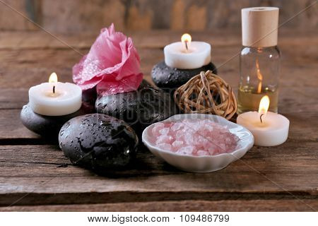 Spa setting on old wooden table