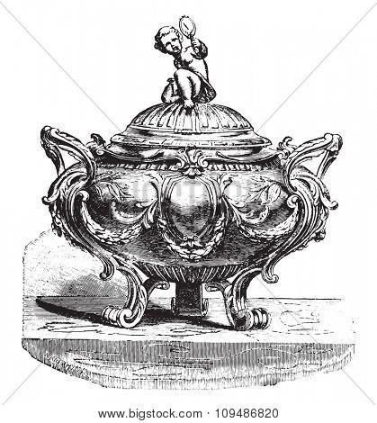 Sugar bowl silver Louis XVI style, vintage engraved illustration. Industrial encyclopedia E.-O. Lami - 1875.
