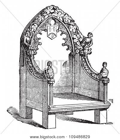 Fourteenth century chair, vintage engraved illustration. Industrial encyclopedia E.-O. Lami - 1875.