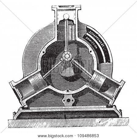Engine brotherhood, vintage engraved illustration. Industrial encyclopedia E.-O. Lami - 1875.