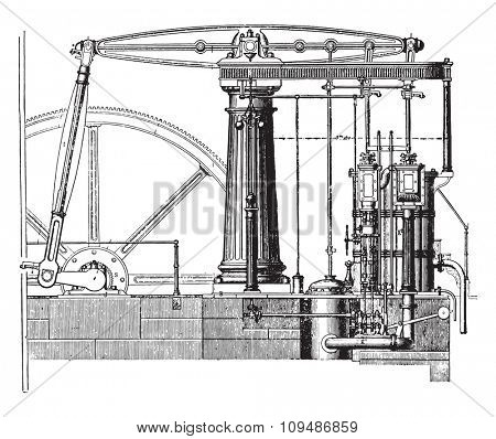 View from the beam engine, compound type, vintage engraved illustration. Industrial encyclopedia E.-O. Lami - 1875.