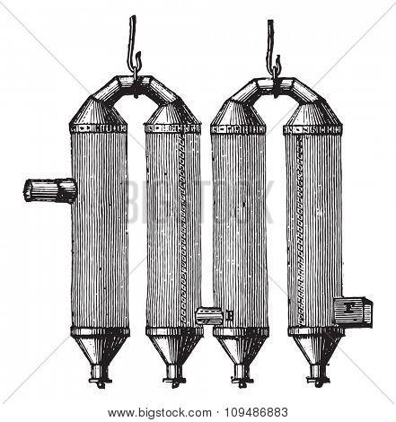 Device English to make black smoke, vintage engraved illustration. Industrial encyclopedia E.-O. Lami - 1875.