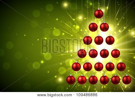 Christmas green background with balls. Vector Illustration.