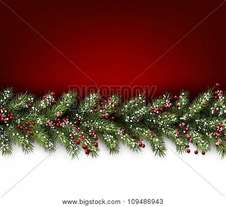 Red card with fir branches. Vector paper illustration.