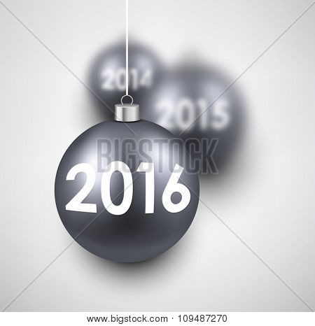 2016 New Year card with silver balls. Vector illustration.