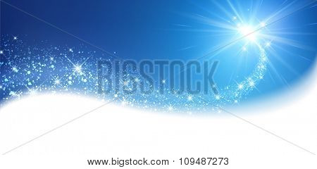 Blue sparkling card with petard. Vector illustration.