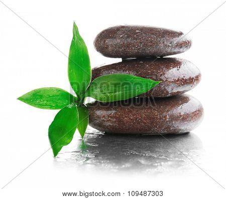 Stack of stones and a green flower on white wet background. Spa relaxation concept