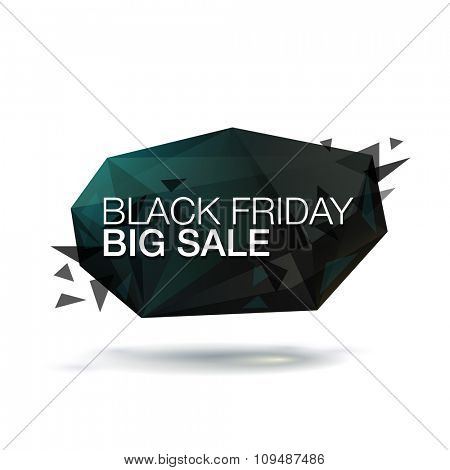 Black Friday Big Sale vector illustration. Abstract trendy glass background for your banner.