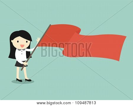 Business concept, Business woman holding red flag. Vector illustration.