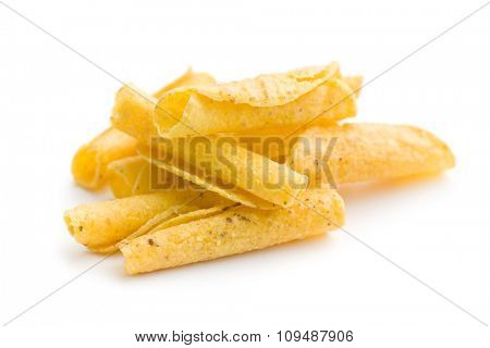 rolled nacho chips on white background
