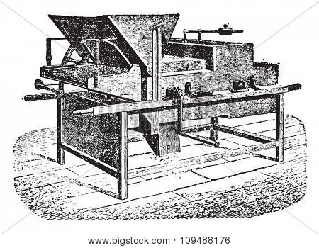Agricultural winnower, vintage engraved illustration. Industrial encyclopedia E.-O. Lami - 1875.