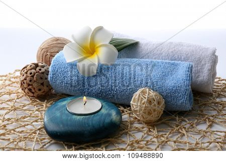Decorated spa composition on wicker serviette