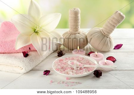 Spa composition on white wooden table