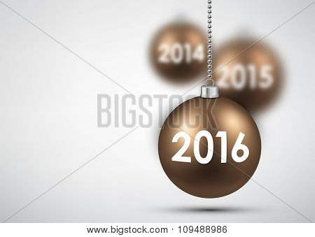 2016 New Year background with balls. Vector illustration.