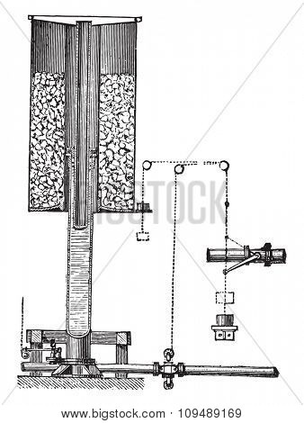 Accumulator Armstrong, vintage engraved illustration. Industrial encyclopedia E.-O. Lami - 1875.