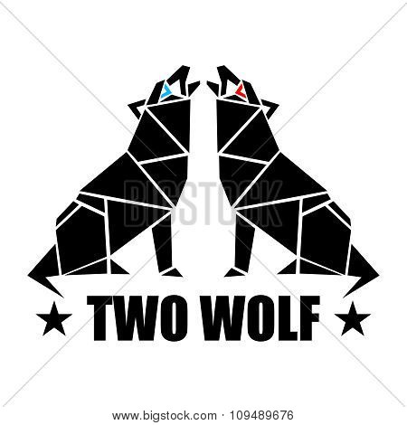 Vector Polygon Wolves Howling