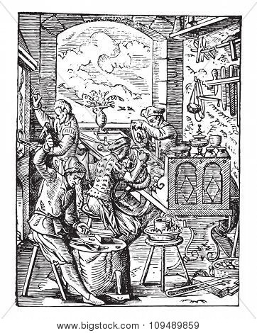 Goldsmith workshop in the sixteenth century, vintage engraved illustration. Industrial encyclopedia E.-O. Lami - 1875.