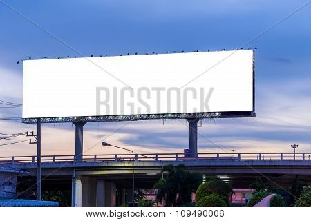 Blank Billboard At Twilight Time Ready For New Advertisement