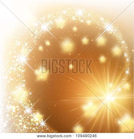 Golden sparkling background with stars. Vector illustration.