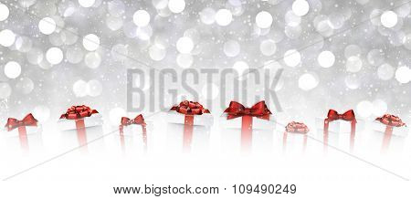 New Year background with gifts. Vector paper illustration.