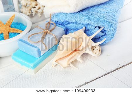 Spa treatments on light background. Sea spa concept