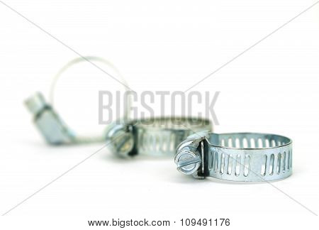 Small Stainless Steel Radiator Clamp Isolated On White Background