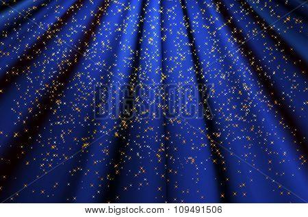 Blue Wavy Background With Shiny Stars
