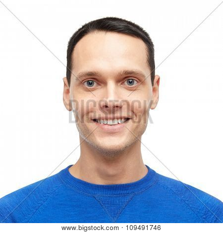 male, gender, fashion and people concept - smiling young man in blue pullover portrait