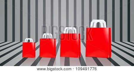 sale, consumerism, advertisement and retail concept - many blank red different size shopping bags over gray striped 3d background